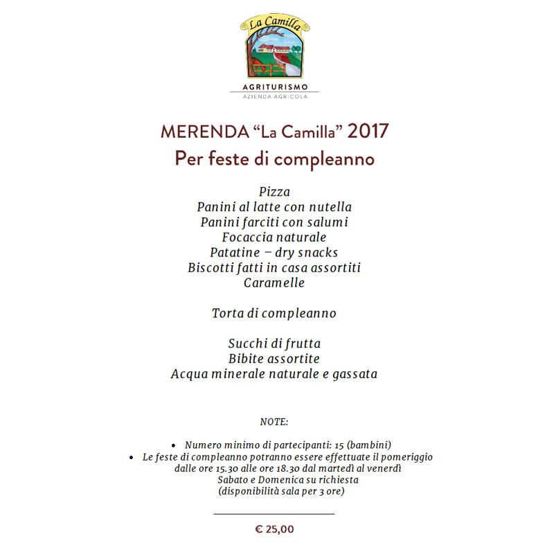 Menu feste di compleanno 2017 in agriturismo la Camilla